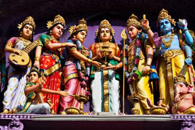 Facade Of The Hindu Temple, South India