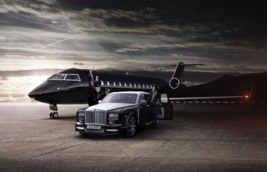 Private Jet Beside A Black Car